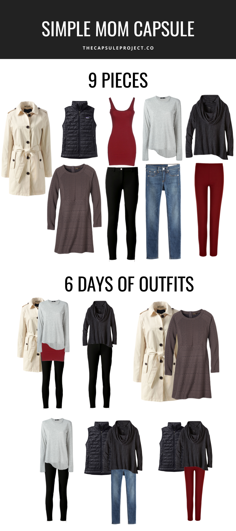 Simple 9 Piece Mom Capsule Wardrobe