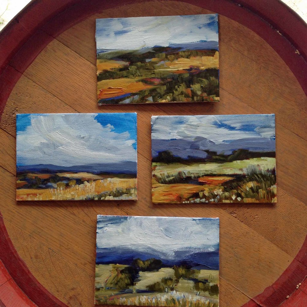 Four little 5x7 en plein air oil on panel studies from this week.