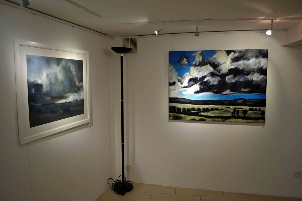 Installation photo Images from left to right. 1/ Autumn Storm on Teddy's Hill, soft pastel, 56x76cm. 2/ The River Runs Long and Wide, oil on cotton canvas, 90x115cm.