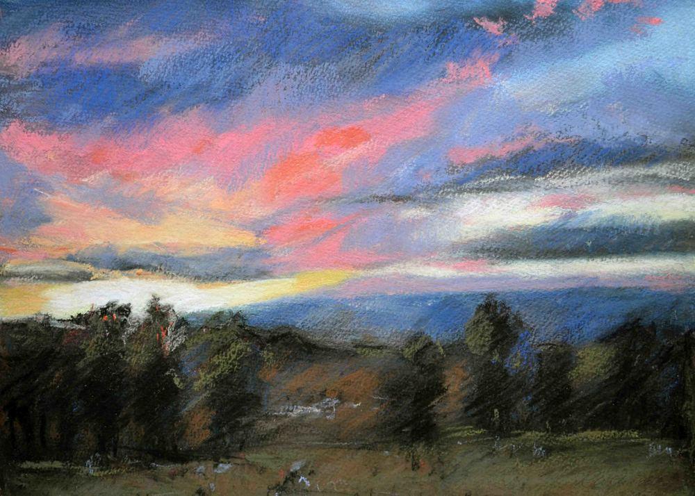 Sunset, True North Vineyard, 2016