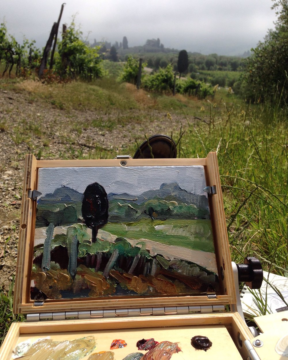 Painting en plein air in Tuscany June 2016