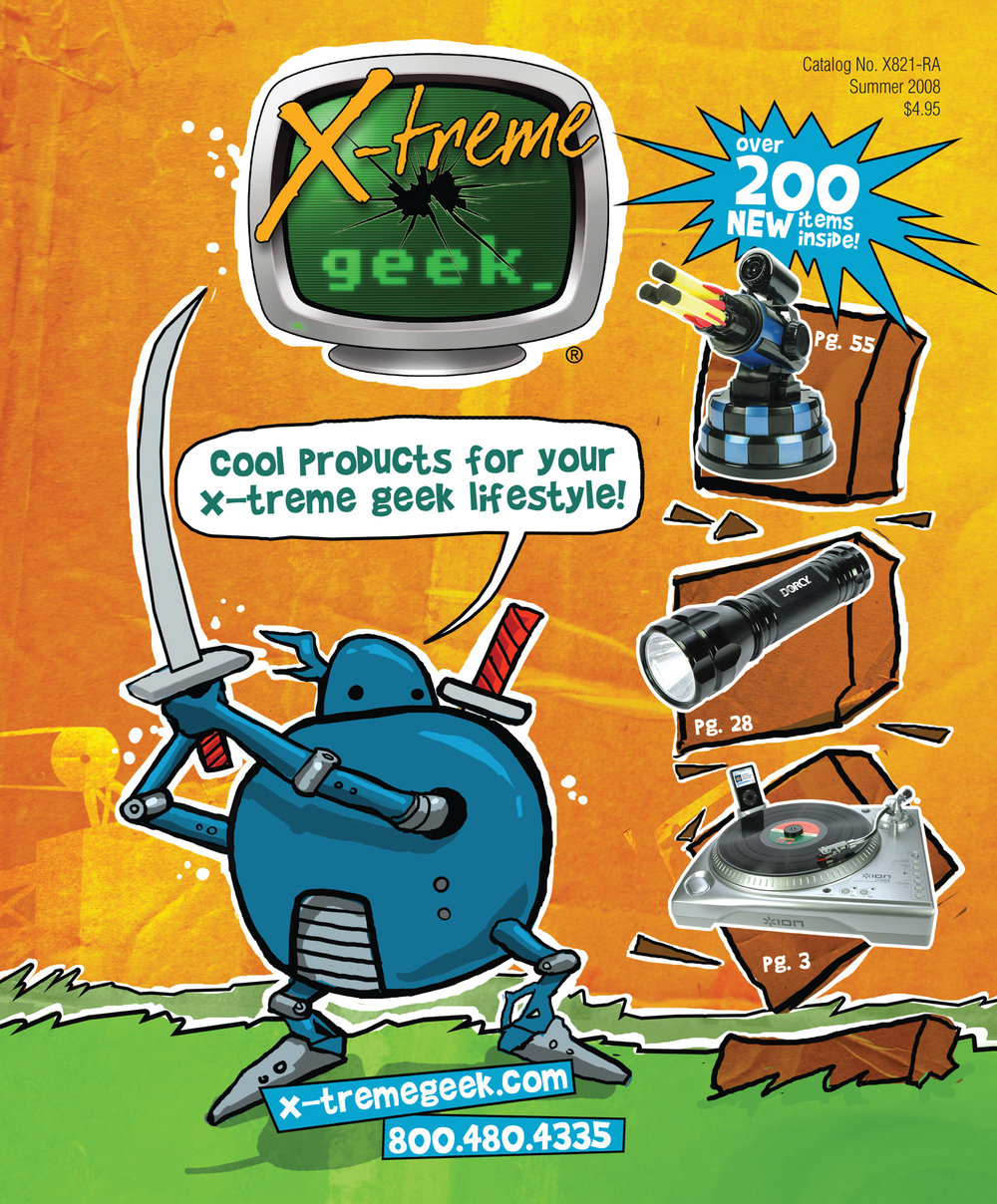 2009. X-treme Geek catalog cover. Art direction, illustration, and design. © E-filliate Inc.