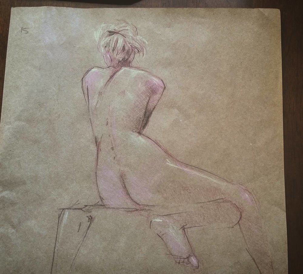 15-minute figure study. Col-erase pencil and white charcoal on toned gray paper.