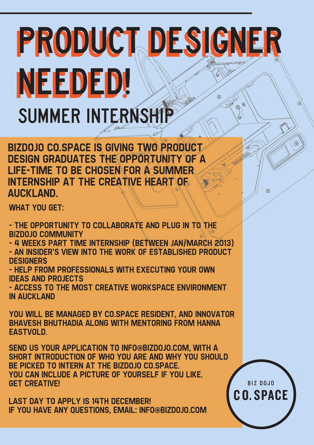 APPLY NOW! Only a week to apply for a Summer Internship at Co.Space. Please share this link on Facebook: Product Design Grad Needed! if you know any Product Design Graduates!