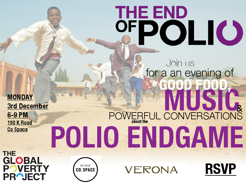 This Monday at Co.Space The Global Poverty Project event: 'The End of Polio' Live music and food from Verona. Pop in for a Monday afterwork drink!