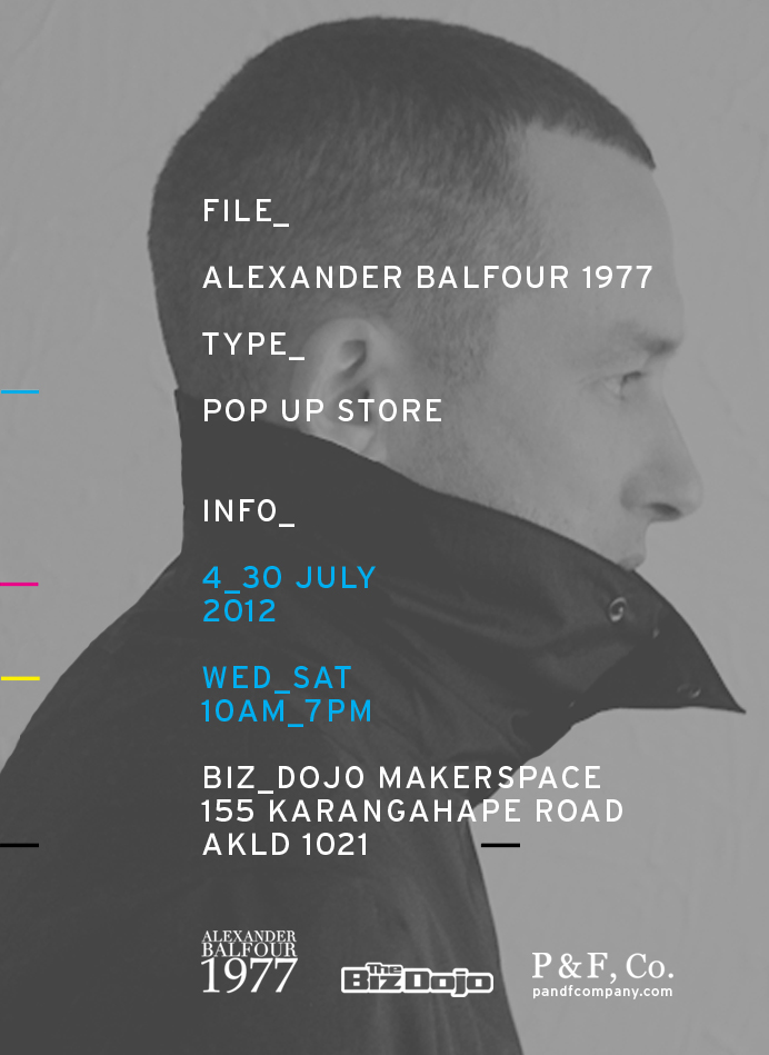 A pop-up store for designer menswear opens in the BizDojo Makerspace this Wednesday. Kit Lawrence, the designer behind Alexander Balfour 1977 will be taking over a corner of the space for the next month.  As well as the latest line of threads - prints, bikes, magazines, mixtapes and other curiosities are also on display and for sale, so there's something for chicas too. Open 10am-7pm each day, Fridays 9pm (with added DJs and a few bevvies).