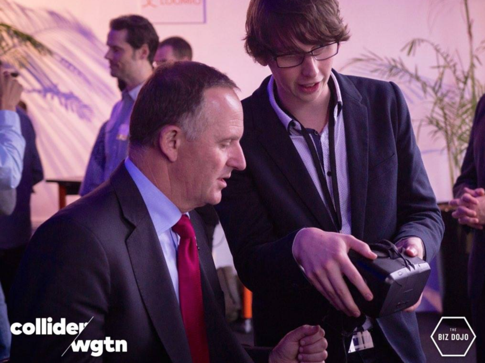 Prime Minister of New Zealand John Key takes time to check out the work of Dojo Wellington residents Genulin.