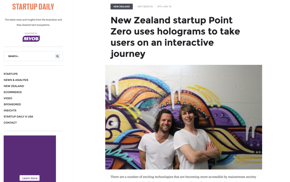 Startup Daily: New Zealand startup Point Zero uses holograms to take users on an interactive journey