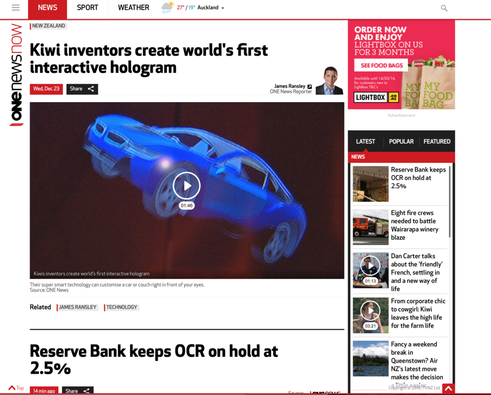 One News: Kiwi inventors create world's first interactive hologram