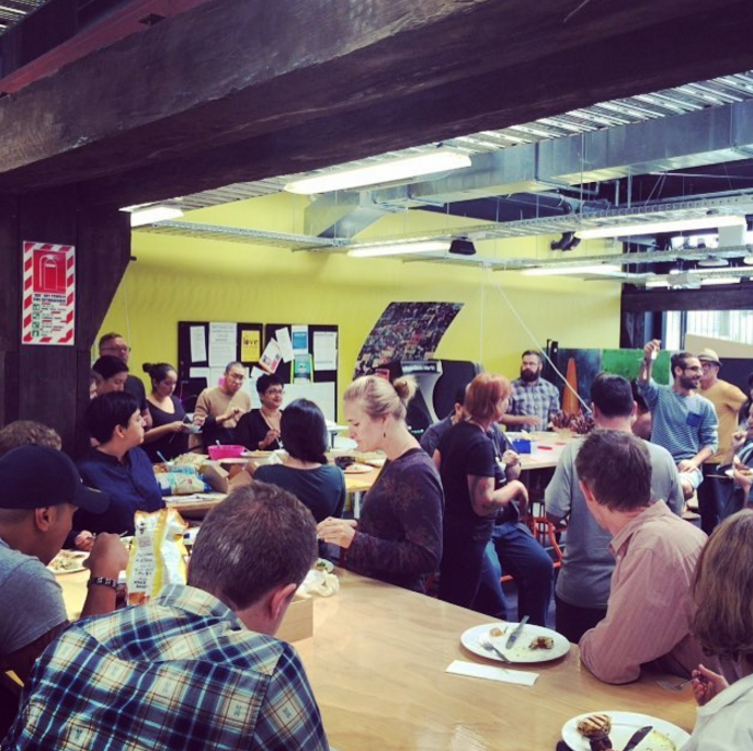The awesome humans of BizDojo Auckland enjoy their first shared lunch together at GridAKL.