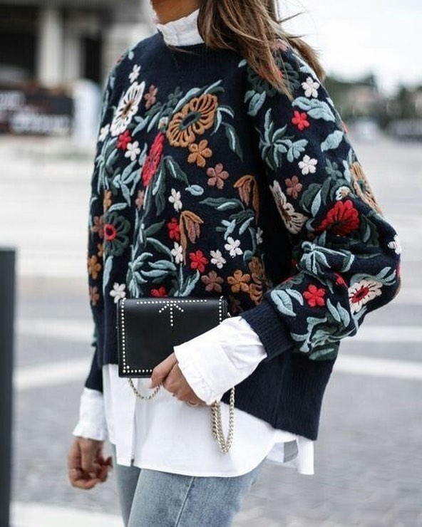 Love the embroidery detail #knit #whiteshirt #denim #autumstyle #laudayimage
