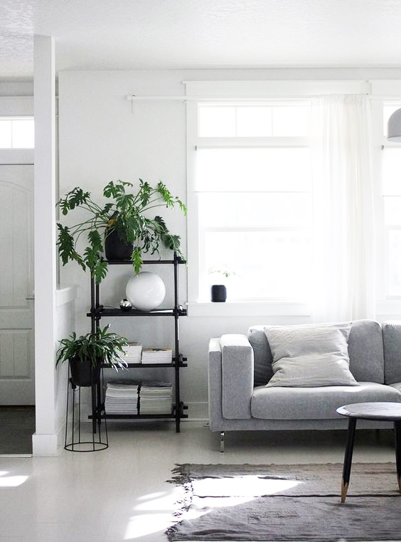 The Xanadu plant here, really helps balance the otherwise cold colors of grey and white. it still maintains the formality of the place, while making it far more pleasant and approachable.  Notice the gorgeous stand.