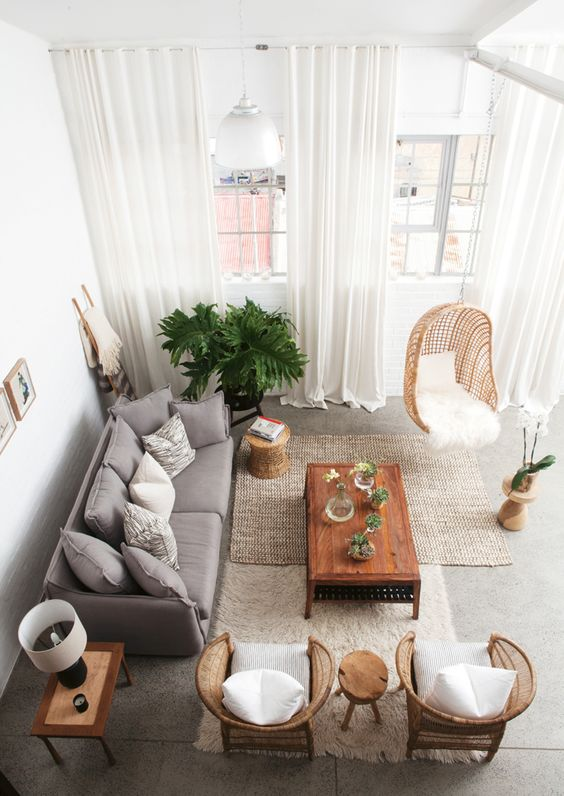 The white, grey and beige in this space form the perfect canvas for this lush green baby. Also love the choice of materials and textures.