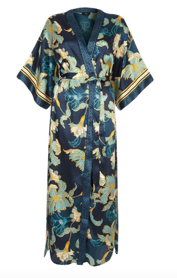 River Island - Blue floral satin jacquard maxi kimono€45