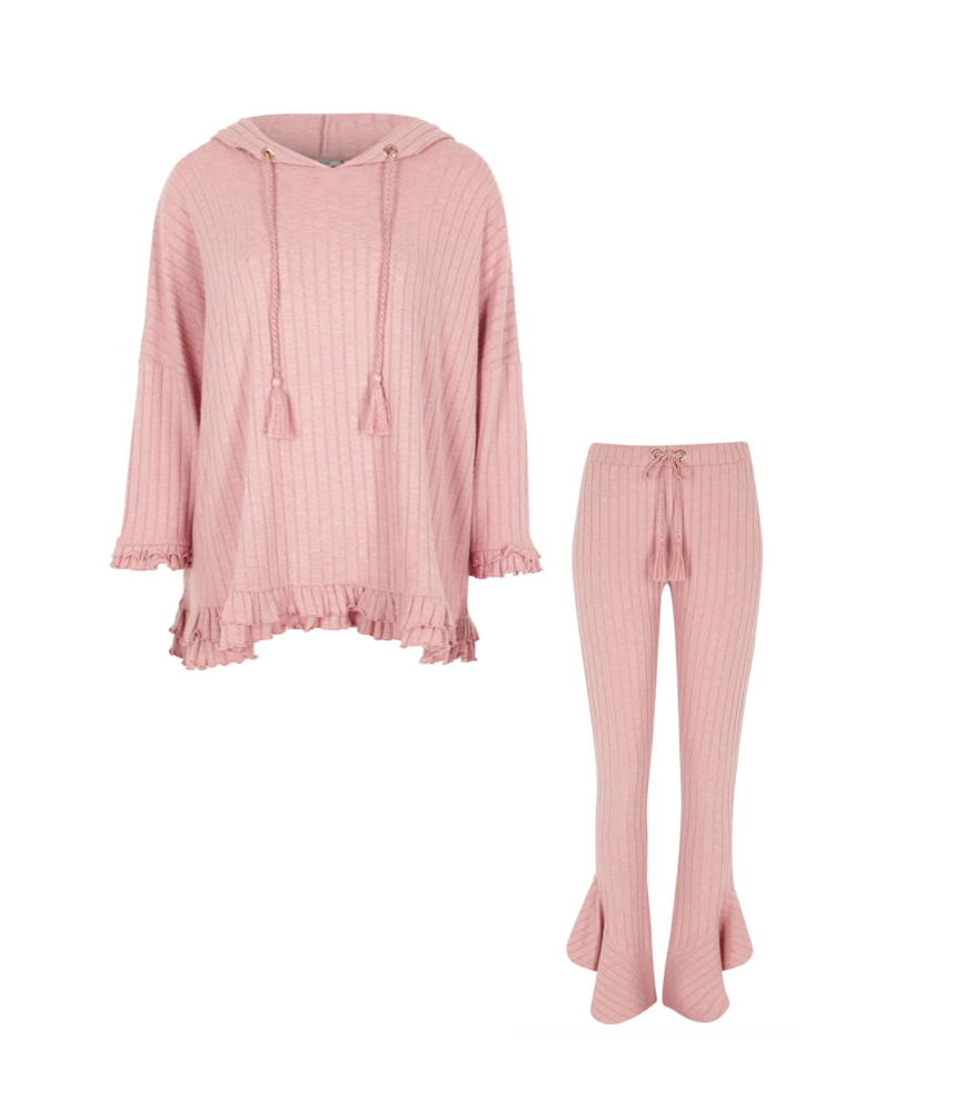 River Island - Pink rib frill hem flared mix & matchTop, €40 | Trousers, €35
