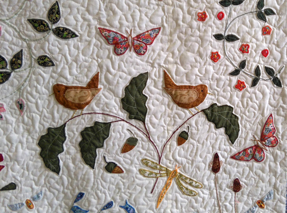 Louise Bell, Wild Flower quilt,   2016, on cream, detail 3.jpg