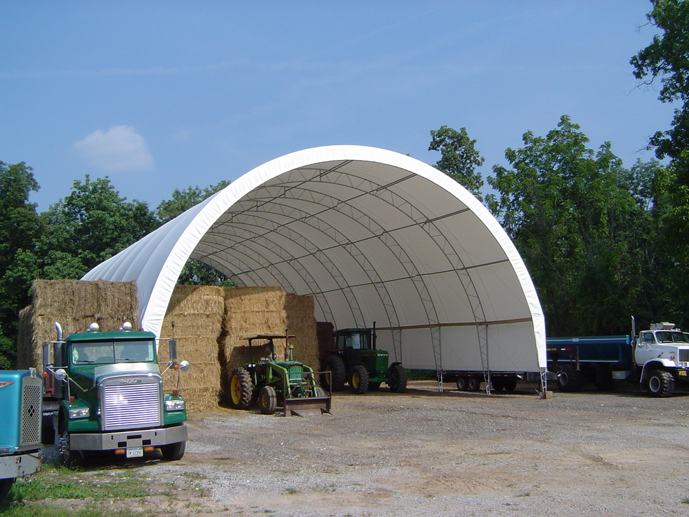 Hay and straw hoop barn