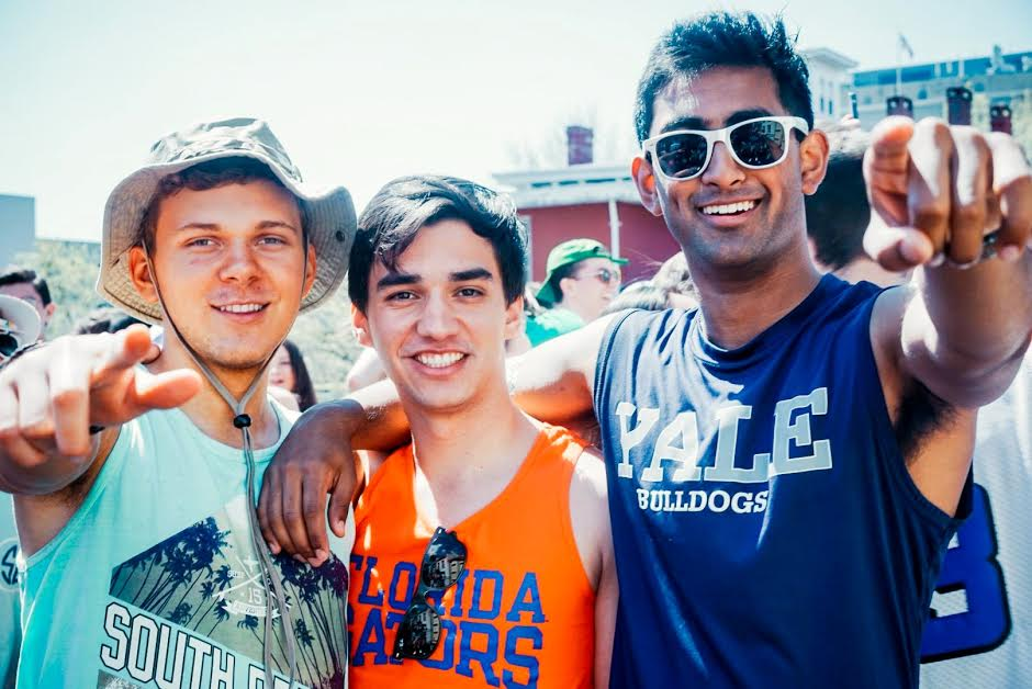 Left to right: Michael Aguero-Sinclair '18, Christian De León '18, Mrinal Kumar  '18  Graphic tank tops seemed like the way to go for this spring day.