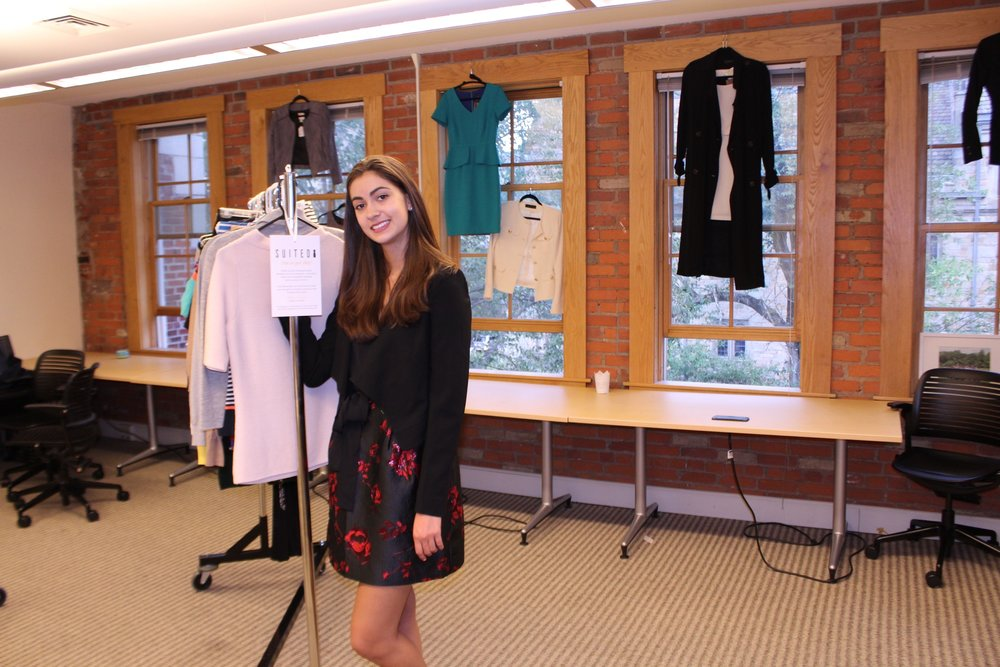 Maya Rodriguez, an undergraduate ambassador for Suited