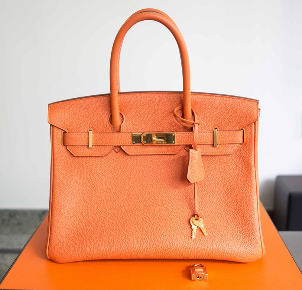 A Hermes Birkin bag, which is handmade with high quality leather, can cost anywhere from $11,550 to $150,000 (image via  Bagsz )