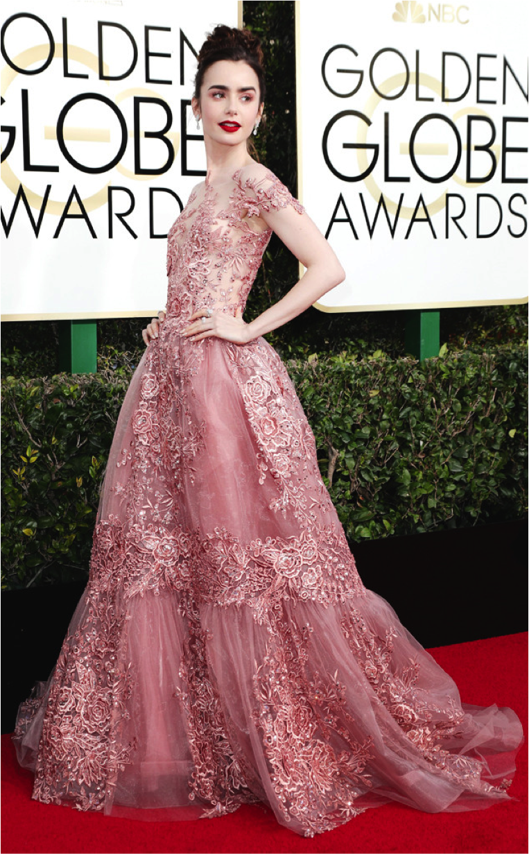 Lily Collins in Zuhair Murad at the 2017 Golden Globes.  Image via E! Online