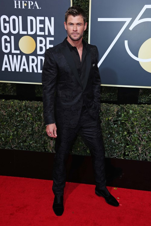 Chris Hemsworth in Etro and Christian Louboutin
