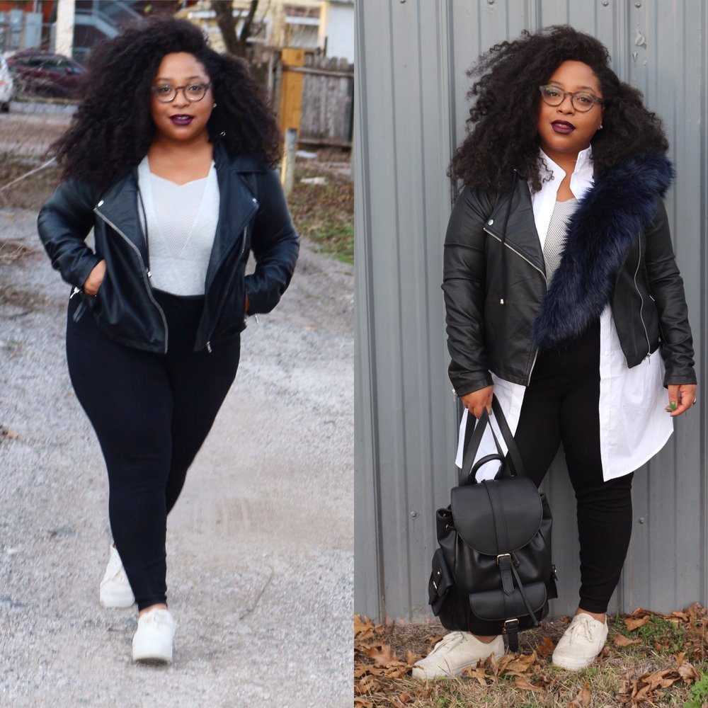 Bodysuit - HM (Purchased in-store.  Here are some alternatives )  Leggings - Forever 21 Plus  Jacket with detachable hoodie -  Forever 21 Plus   Longline White Button-down -  HM   Faux Fur Collar -  Amazon   Backpack -  Forever 21   Flatform Sneakers - Buffalo Exchange