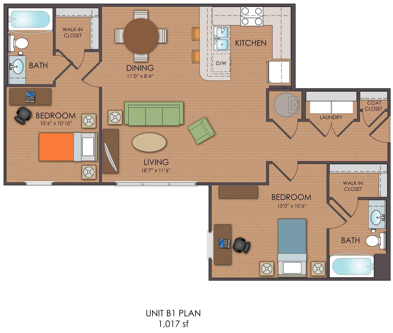 2 bedroom loft b1 floor plan
