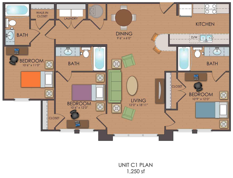 3 bedroom loft c1 floor plan