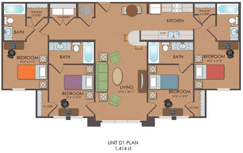 4 bedroom loft d1 floor plan
