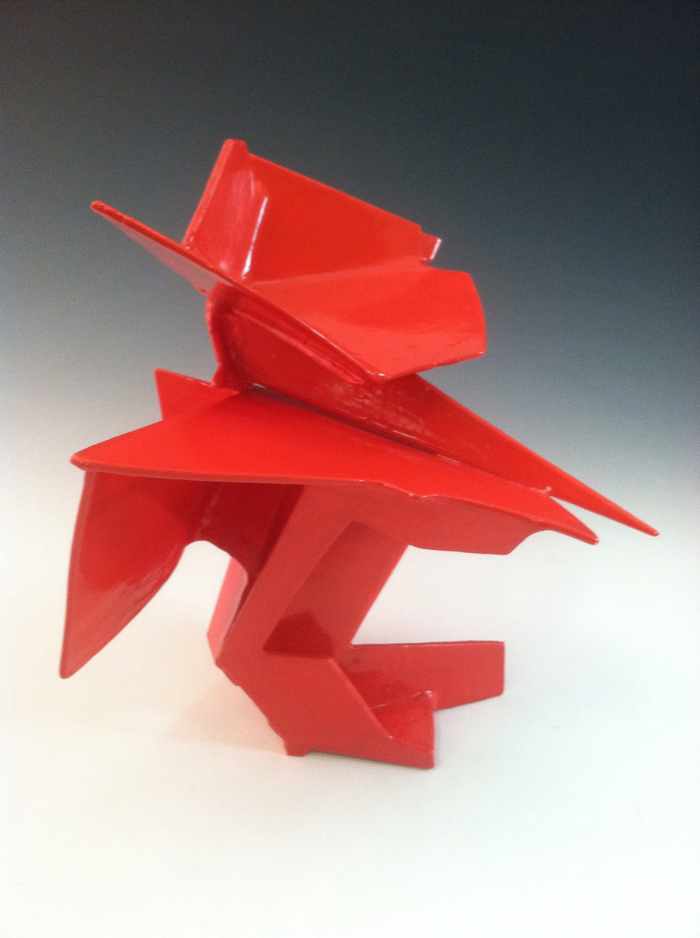 Red geometric sculpture