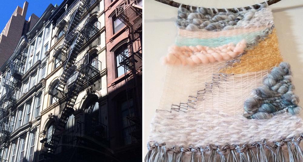 Walker Street, in Soho, NYC (left). Weaving inspired by it (right).