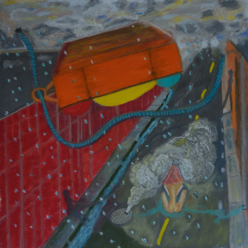 Caution(2) Lisa in Peril (Pastel 18X18 inches )