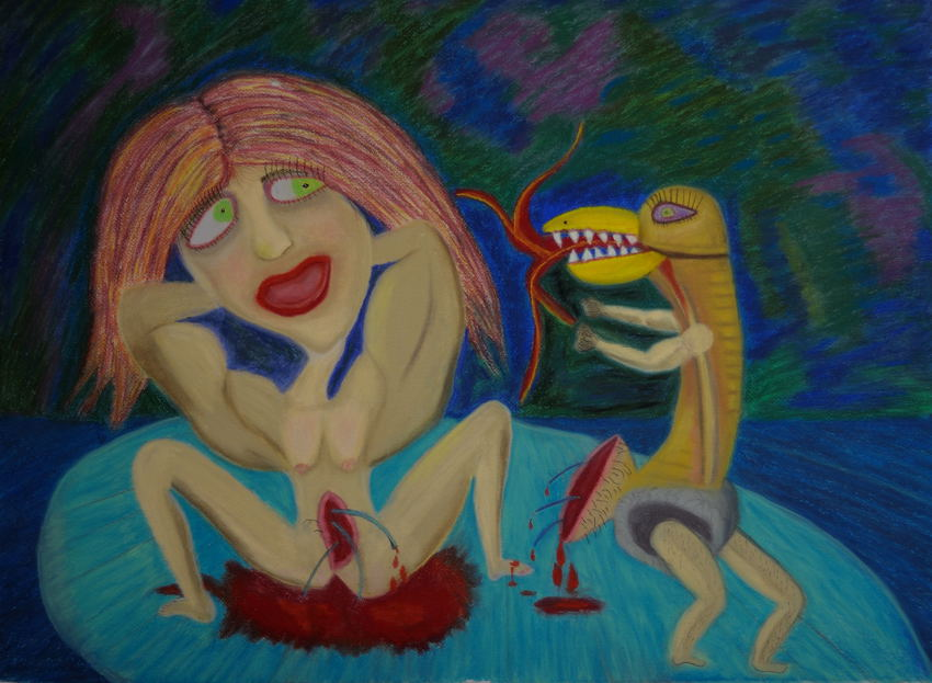 Dream Number 4 : Disgruntled Penis. ( Pastel 22X30 inches ).