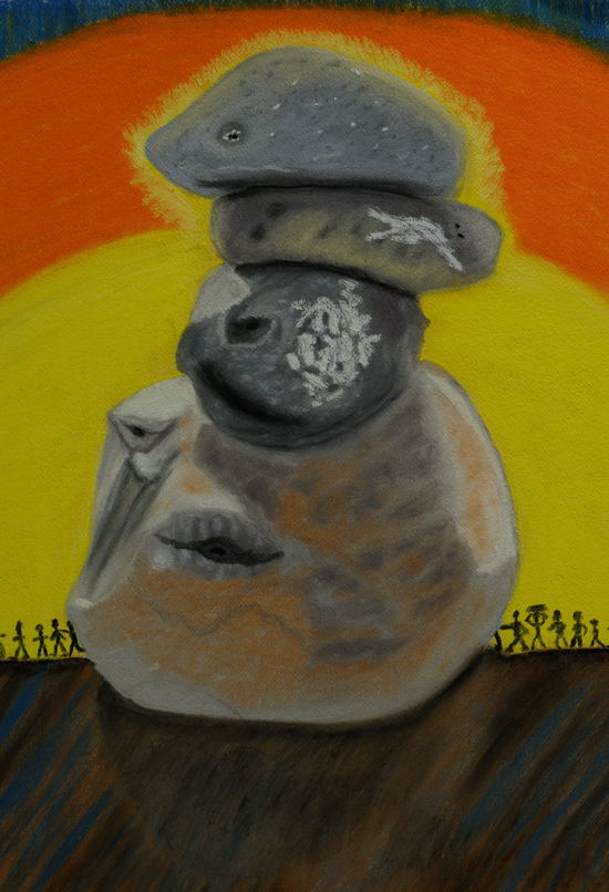 """People from the Rocks"", ( Pastel on Water Color Paper, 18X24 inches )"