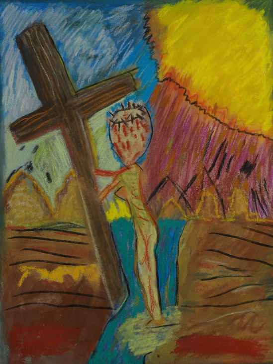 """Philippine Crucifixion ( l ) Pastel ( 18 X 24 inches )."