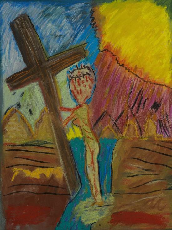 """Philippine Crucifixion ( l ) Pastel ( 18 X 24 inches )."