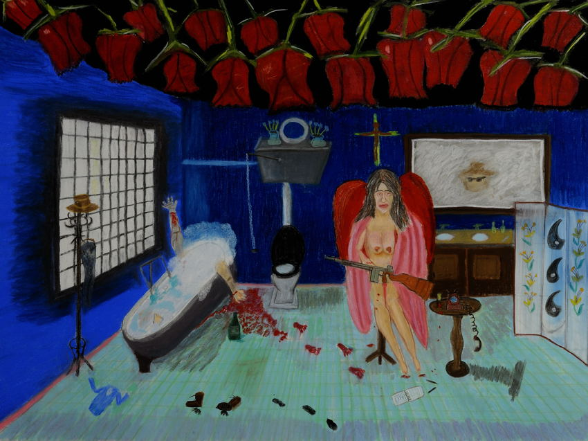 """""""Mafia Girl : Suicide of the Animus"""". Pastel ( 22X30 inches ) on watercolor paper."""