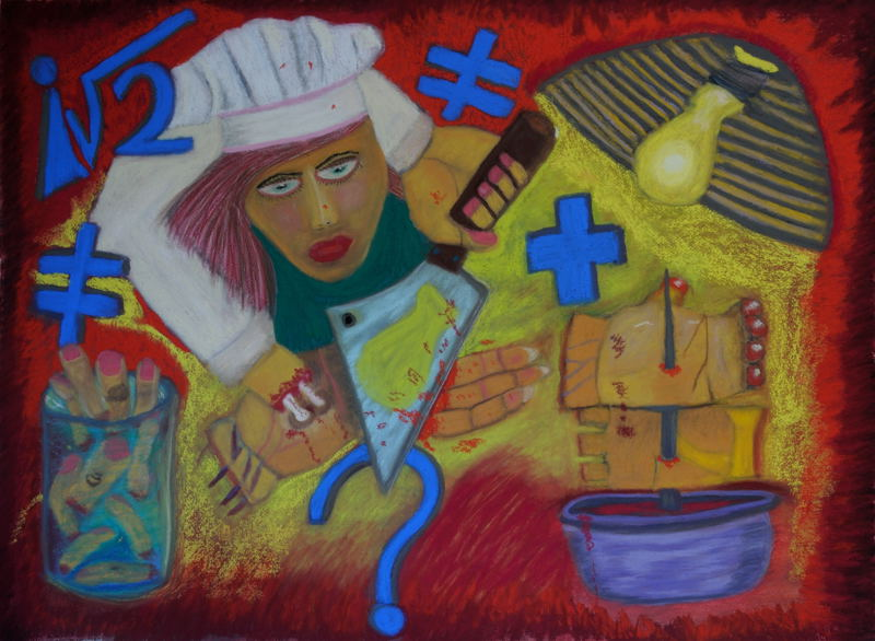 """""""Transposed Dream Number 5 : Cutting Off My Fingers Soft Pastel ( 22 X 30 inches ) Arches water color paper."""