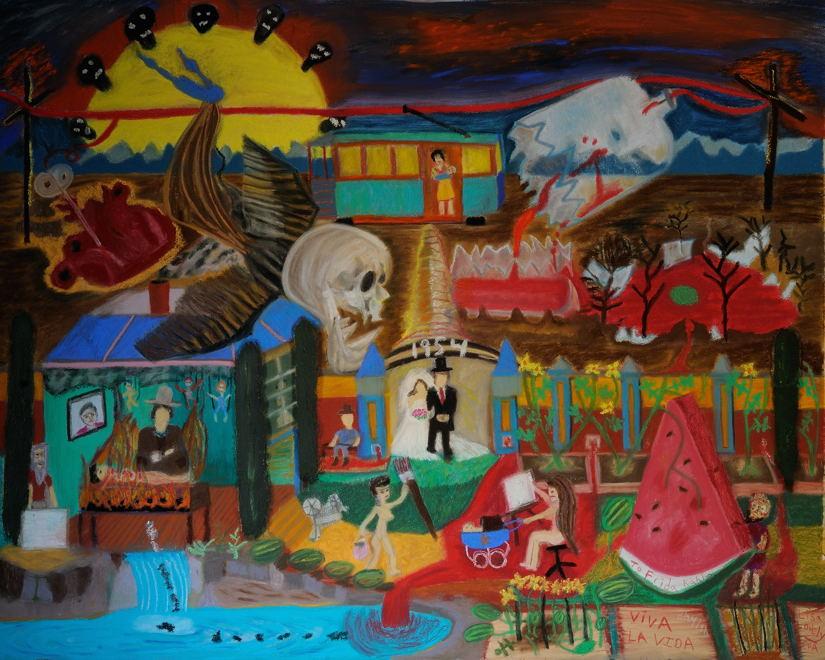"""""""Viva la Vida"""", Soft Pastel ( 32X40 inches ) on Arches cold press water color board."""