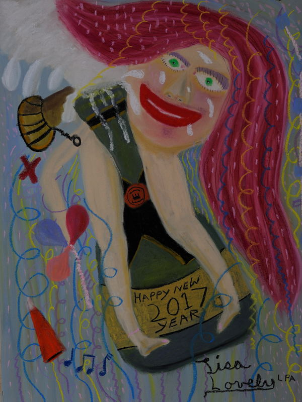 """""""Happy New Year 2017"""", Soft Pastel ( 18X24 inches )."""