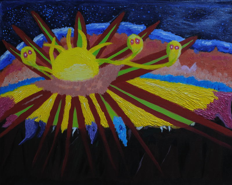 The Sun ; Haleakala , Maui, Hawaii. Acrylic (16X20 inches) on stretched canvas.