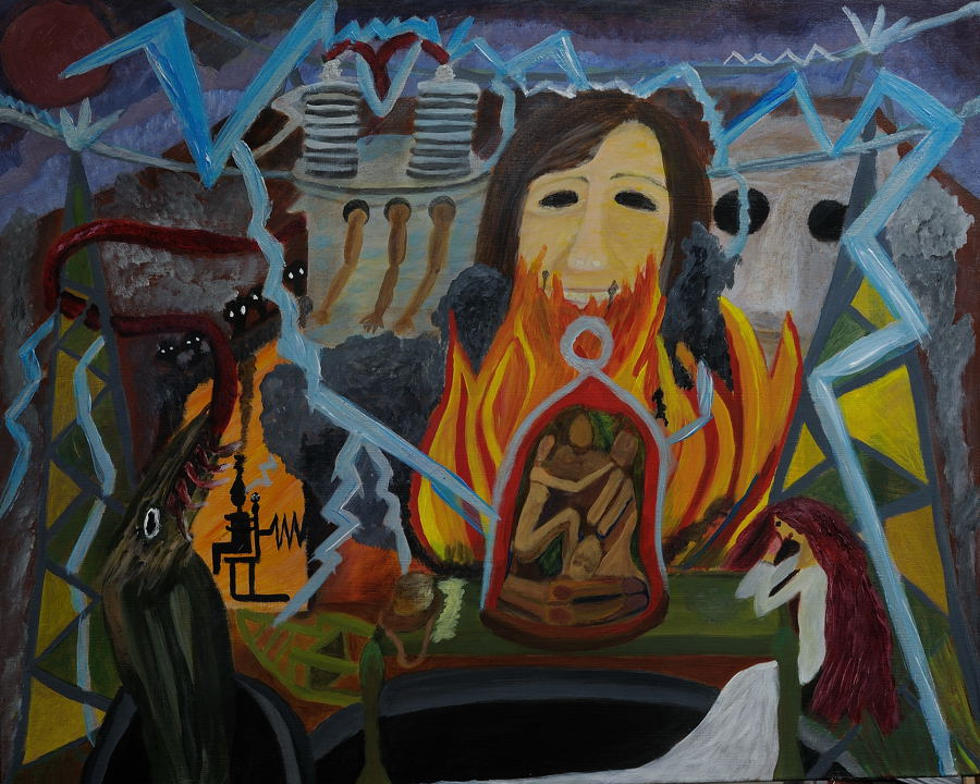 The Last Supper ( Sad Lisa ) Acrylic on stretched canvas 24X30 inches.