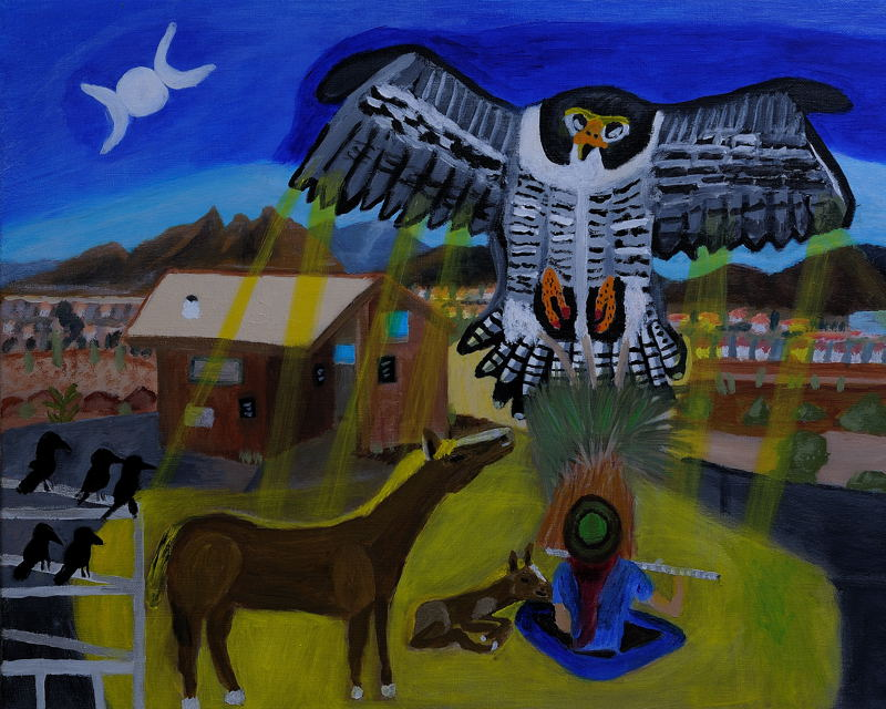 Return of the Peregrine Falcon ; Acrylic on 16X20 inch Canvas.