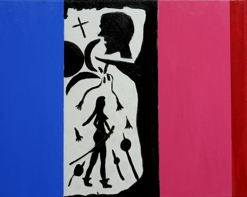 Insights into the French Tricolor Acrylic 16X20 inch, stretched canvas.