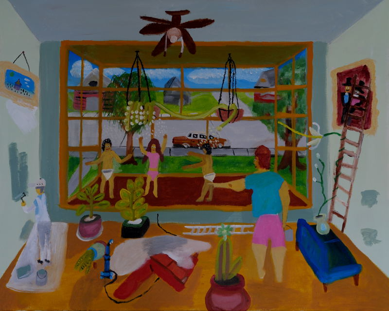Dream Number 9 ; Dancing on the Bay Windows. Acrylic on stretched canvas, 24X30 inches.