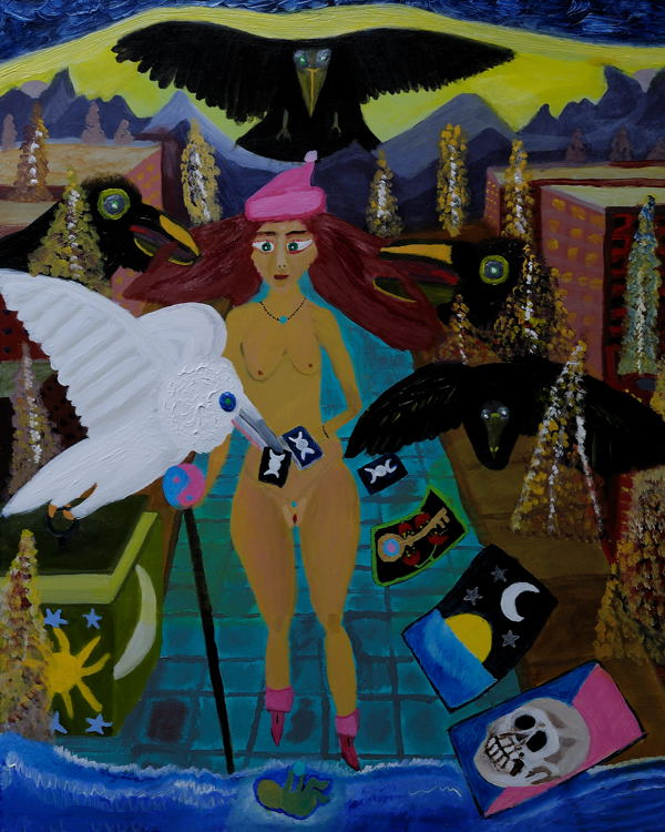"""""""Christmas Tarot"""", Acrylic on stretched canvas, ( 24X30 inches )."""
