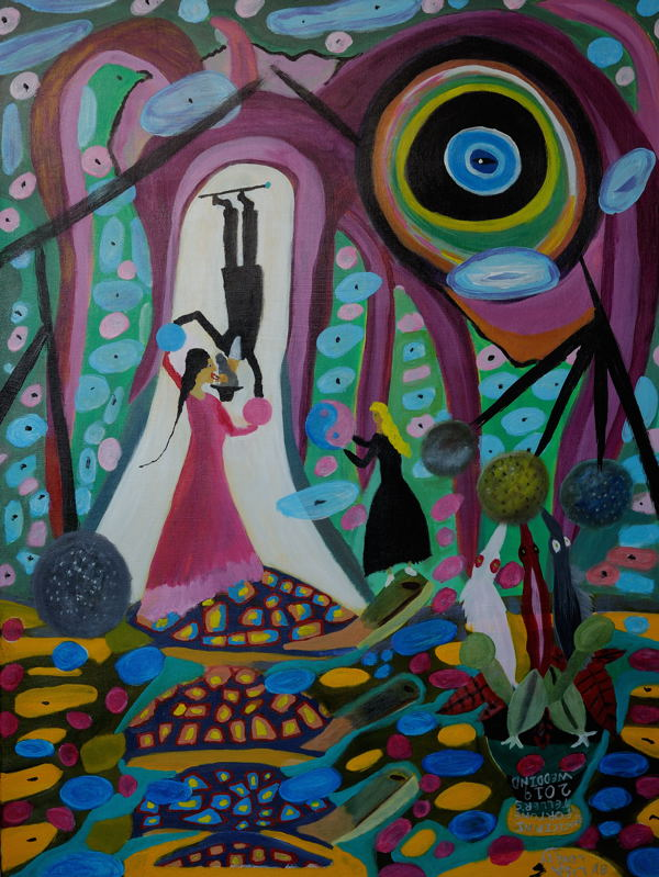 """""""The Wedding : Unification of the Magician and Fortune Teller Lady."""" Acrylic on ( 30X40 Inch stretched canvas )"""