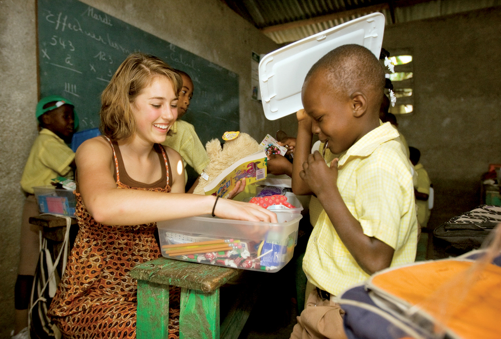 Allison Starcher, from Orlando, Florida, shared the joy of opening a shoebox gift with a child in the Brache-Millot school on the day of the earthquake.