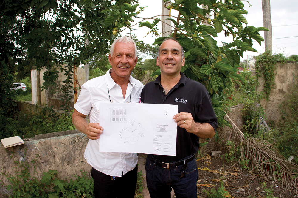 Contractor Francesco Martin and George DeTellis, Jr. standing on the property. Join us in prayer for the funding toward the construction of the church in Los Castillos.